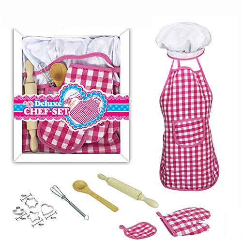 Kids Cooking and Baking Set-11 Pcs Includes Kids Apron, Chef Hat, Oven Mitt, Real Kids Baking Tools Mitt & Utensil Best Suited Gift for Boys & Girls