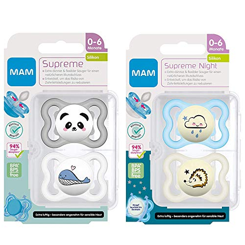 MAM Dental Schnuller 4er Set Supreme, 0-6 Monate, haut- und zahnfreundlicher Schnuller, SkinSoft Silikon