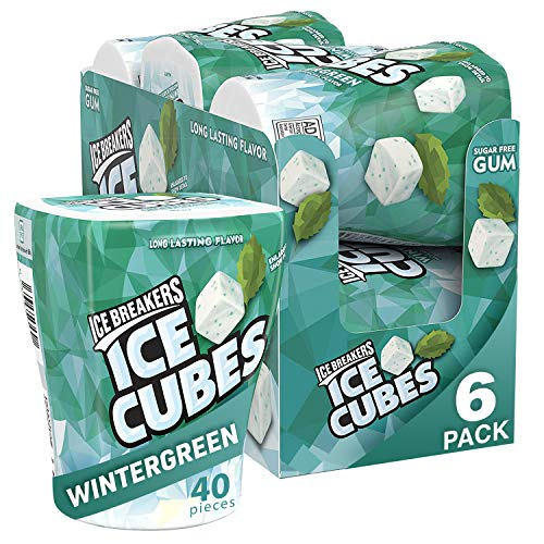 ICE BREAKERS ICE CUBES Wintergreen Sugar Free Chewing Gum, Made with Xylitol, 3.24 oz Bottles (6 Count)