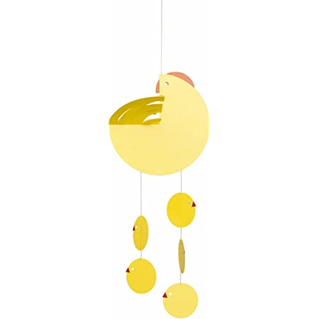 Easter Mother Hen Yellow Hanging Mobile - 16 Inches Plastic - Handmade in Denmark by Flensted