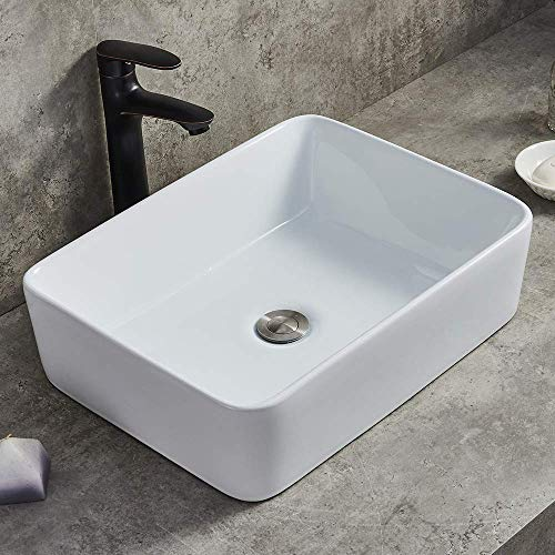 Ufaucet Modern Porcelain Above Counter White Ceramic Bathroom Vessel Sink,Art Basin Wash Basin for...