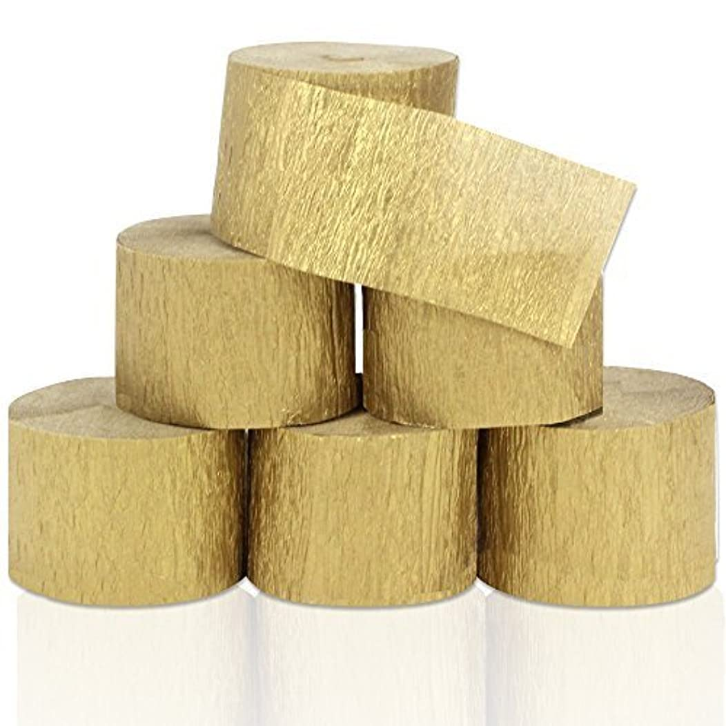 Coceca 82ft Gold Streamers Roll Gold Crepe Paper Streamers, 6 Rolls, for Various Birthday Party Wedding Festival Party Decorations