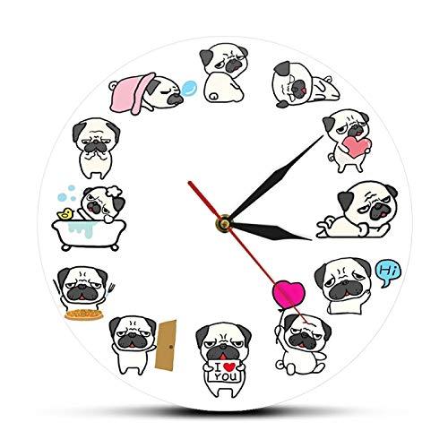 gongyu Reloj de Pared de Vida Diaria para Perro Pug, decoración del hogar para Amantes de los Perros, Reloj de Pared sin tictac, Reloj de Pared para Tienda de Mascotas, Reloj de Arte de Pared, Reloj