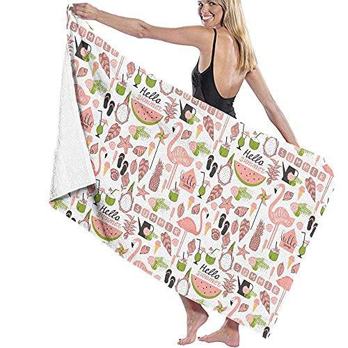 dingjiakemao Turkse handdoek Flamingo en ijs patroon bad handdoeken sneldrogende 80X130Cm strand handdoeken Unisex