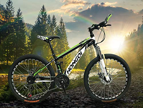 General Packaging Mountain Bike Bicycle Adult Student Outdoors Sport Cycling 26 Inch Road Folding Bikes Exercise 27-Speed for Men and Women (Green)