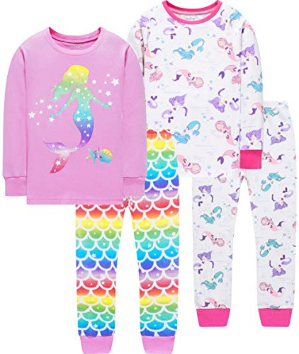 Girls Christmas Pajamas Toddler Kids Mermaid Pyjamas 4 PCs Cotton Sleepwear Pants Set 4t