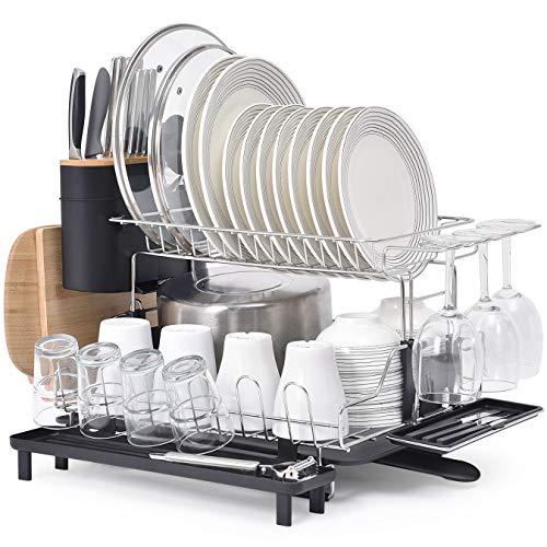 Kingrack XXXL escurreplatos 2 niveles,rejilla de secado de platos de 304 acero inoxidable con soporte para cubiertos,soporte para copa de vino,portavasos, rejilla para tablas de cortar para cocina