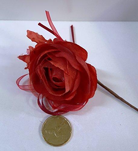 Set 11 pièces, Bonbonnière Bouquet Rosier avec feuilles (diamètre 6 cm.)X marque place, confettata (ck1289) Rouge