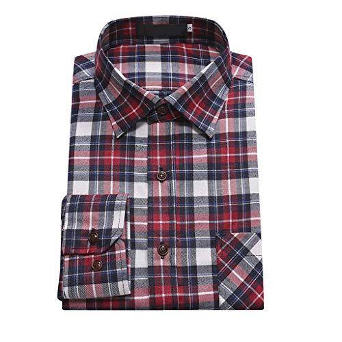 Herren Hemd kariert Slim Fit Langarm Freizeithemd Flanellhemd Businesshemden Formelle Hochzeitshemden Urlaubshemden CICIYONER
