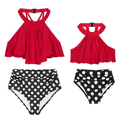 AmzBarley Mutter und Tochter Badeanzug Zwei Stücke Retro Bademode Damen Bikini Set Mädchen Badeanzug Schwimmanzug