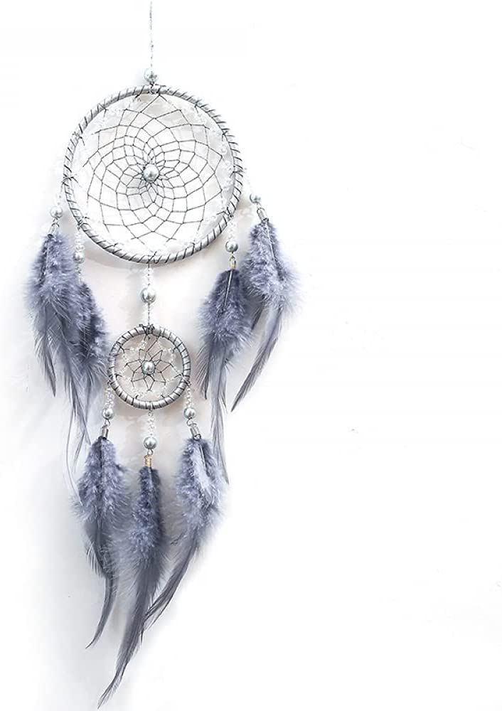 Zyplus Home Dream Catcher Gray Two Ro Chimes Ornaments Cheap bargain Wind Super sale Ring