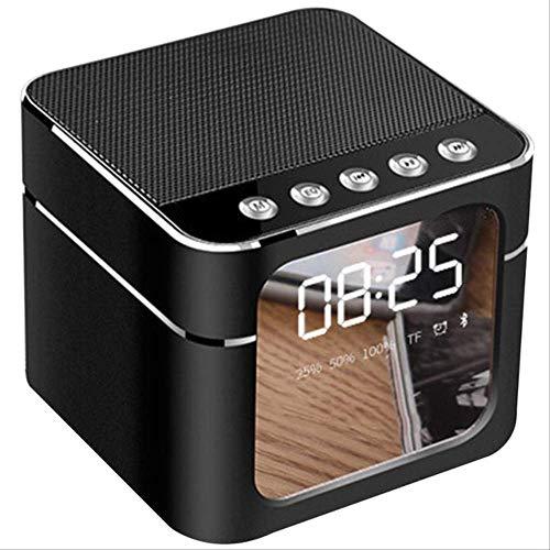 Mirage Oplaadbaar geluid metaal draagbare spiegeloppervlak draadloos display klok speaker Bluetooth handfree digitaal stereo zilvergrijs, Zwart