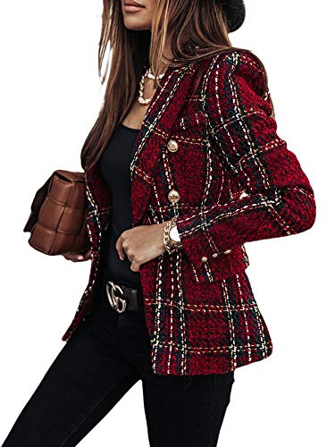 FeMereina Womens Tartan Blazers Suit Long Sleeve Lapel Collar Jacket Double Breast Houndstooth Suit Tops for Work Office (Wine Red, M)
