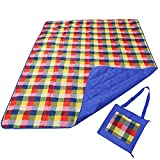REDCAMP Outdoor Picnic Blanket Washable Waterproof and Sandproof, 79'x59' Large Foldable Lawn Blanket for Grass with Tote Bag, Red and White Plaid