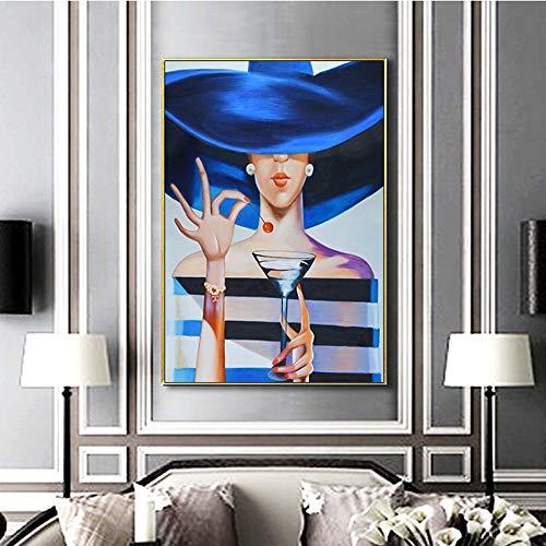 QWESFX Cherry Girl Ölgemälde Auf Leinwand Kunstdrucke Poster und Drucke Modell mit einem Becher Wandbilder für Wohnzimmer Barraum (Druck ohne Rahmen) A2 40x80CM