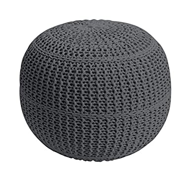 BrylaneHome Bh Studio Hand-Knitted Ottoman Pouf (Charcoal,0)