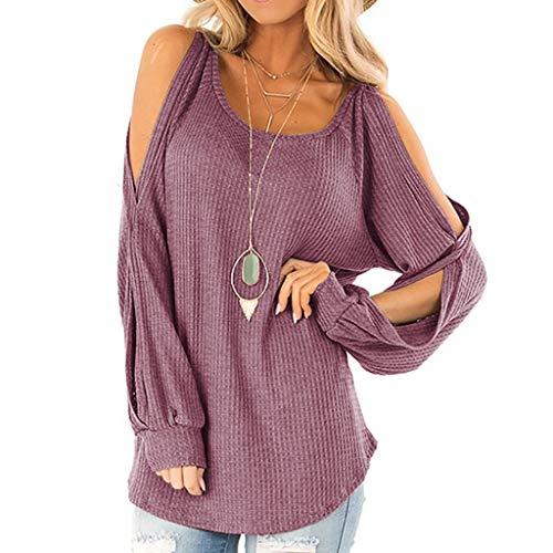 T-Shirt en Coton à Manches Longues chandail pour Femmes Vêtements Épaule qui fuit Arrêtez-vous Sweat-shirt Top Bloues T-Shirt