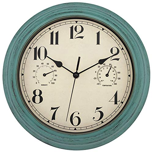 Foxtop Indoor Outdoor Waterproof Wall Clock with Thermometer and Hygrometer Combo, 12 inch Retro Silent Non-Ticking Battery Operated Quality Quartz Round Clock for Patio Home Living Room Decor (Green)