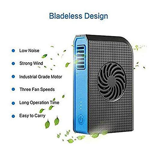 YGTMV Kleine draagbare USB-handventilator, 3-traps aanpassing, oplaadbare, bladloze koelventilator, met 6000 mAh-energiebank, voor draagbare mobiele telefoons, persoonlijke ventilator