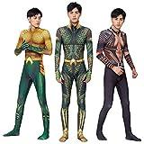 CXYGZLJ DC Aquaman Body, Carne/Golden/Verde Superhéroe Cosplay Jumpsuit Adultos Niños Movie Fans Fiesta Props Disfraz Visual Visual,C-Kids XL 140