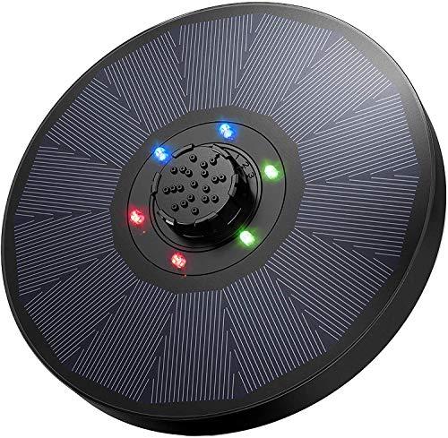 OKMEE Solar Springbrunnen mit LED, 9V 2,6W Solar Teichpumpe mit 1200mAh Batterie, Solar Wasserpumpe mit 4-in-1-Düse Verbessert für Vogelbad, Aquarium, Teich, Gartendekoration,18 cm Durchmesser