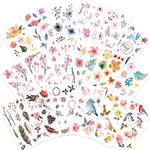 Knaid Watercolor Birds and Flowers Stickers Set - Decorative Sticker for Scrapbooking, Kid DIY Arts Crafts, Album, Bullet Journaling, Junk Journal, Planners, Calendars and Notebook