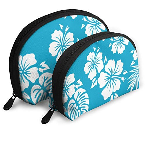 Hawaiian Aloha Shirt Beauty Fashion Customized Portable Bags Clutch Pouch Storage Bag Cosmetic Bag Purse Travel Storage Bag Shell Shape One Big And One Small For Women