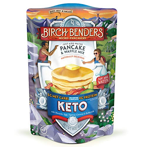 Birch Benders Keto Pancake & Waffle Mix, Low-Carb, High Protein, Grain-free, Gluten-free, Low Glycemic, Keto-Friendly, Made with Almond, Coconut & Cassava Flour, Just Add Water, 16 Ounce (Pack of 1)