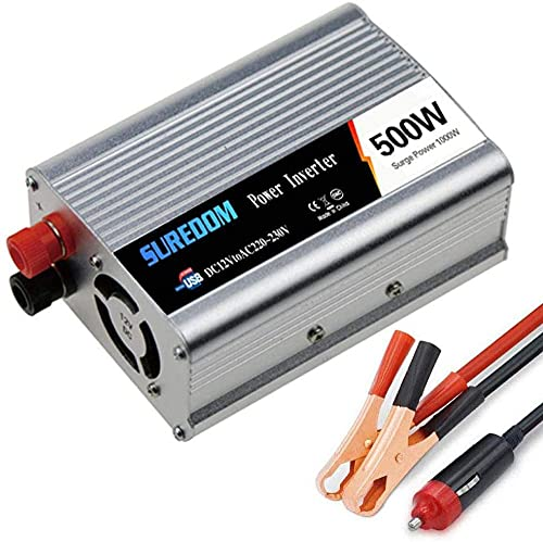 Inversor de potencia de onda sinusoidal pura 500W (pico 1000W) inversor de potencia de automóvil 12V / 24V a AC 110V / 220V / 230V / 240V con conexión de carga USB para cámaras Smartphones Laptop