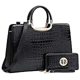 Women's Fashion Handbag Shoulder Bag Hinged Top Handle Tote Satchel Purse Work Bag with Matching Wallet (3-croco Black Wallet Set)