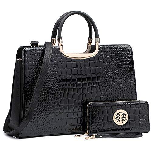 Women's Fashion Handbag Shoulder Bag Hinged Top Handle Tote Satchel Purse Work Bag with Matching Wallet (3-croco Black Wallet Set)