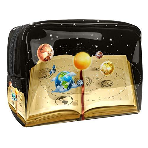 Bolso de Cosméticos Libro Planet Space Neceser de Viaje para Mujer y Niñas Organizador de Bolso Cosmético Accesorios de Viaje Estuche de Maquillaje 18.5x7.5x13cm