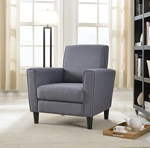 US Pride Furniture Contemporary Solid Colored Fabric Accent Chair, Gray
