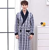 DFDLNL Otoño Invierno Albornoces Acolchados para Hombres Pijamas con Cuello en V Bata de algodón de Manga Larga Ropa de Dormir Masculina Lounges Homewear Pijamas 4XL