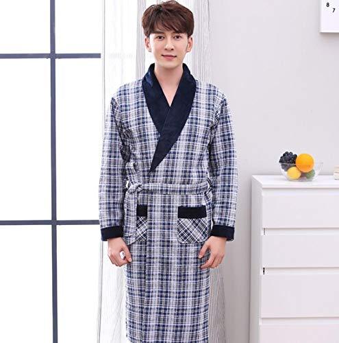 DFDLNL Otoo Invierno Albornoces Acolchados para Hombres Pijamas con Cuello en V Bata de algodn de Manga Larga Ropa de Dormir Masculina Lounges Homewear Pijamas XXL