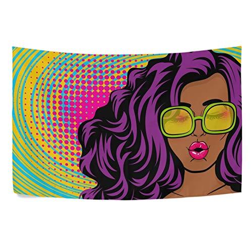 UMIRIKO Tapiz de niña africana sexy con lentes de sol y labios grandes para colgar en la pared del hogar, dormitorio, decoración estética, 220 x 152 cm (20208503)
