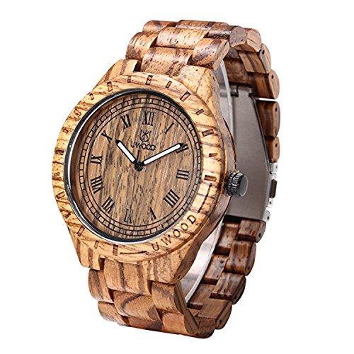 Uwood numero romano stile dell'annata sandal rosso orologio di legno per gli uomini