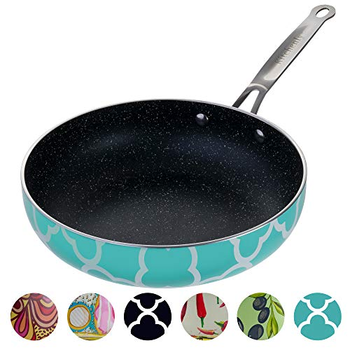 Decorative Non Stick Frying Pans Wok  Deep Skillets Induction Ready Hard Anodized Granite Marble Stone Coating Pan 95 inch for Cooking Baking on Stove or Oven with Stainless Steel Ergonomic Handle