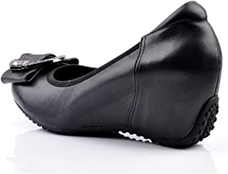[OceanMap] 低反発 厚底 コンフォートシューズ ウェッジソール ラウンドトゥ 大きいサイズ パンプス バックル付き 柔らかい レザー 革靴 コンフォート フォーマル ヒール 6cm 通勤 仕事 結婚式 冠婚葬祭 リクルート 就活 21.5 25