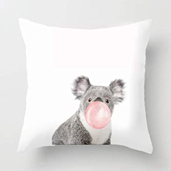 Watercolor Cartoon Lovely Sleeping Koala for Couch Cotton Linen Personalized Throw Pillow Case Cushion Cover New Home Office Room Sofa Car Decorative Square 18 X 18 Inches Andreannie Andreannie-3212