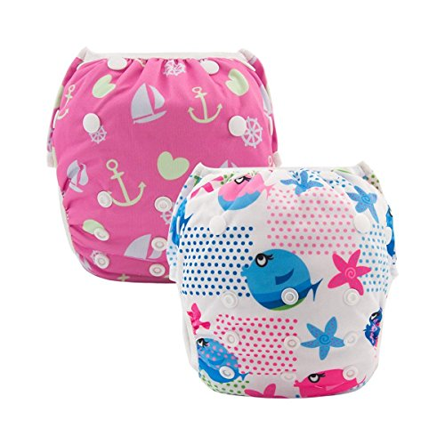ALVABABY Swim Diapers 2pcs Reusable & Adjustable Baby Shower Gifts 0-2 Years SW09-10