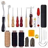 YUIOP Costura del Cuero DIY Artesanía Kit, 15 Piezas de Mano Cortador Costura Talla Talla Sacador Trabajo Set de Accesorios
