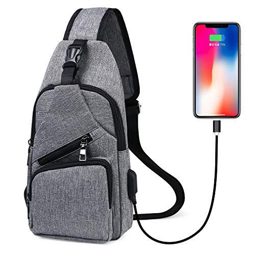 flintronic Sling Bag, Bolsa de Pecho con Puerto de Carga USB