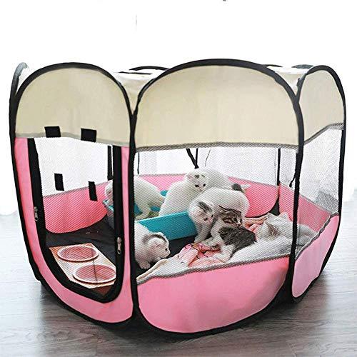 Portable Foldable Hundehütte für Haustiere und Haustiere, Playpen für Kennel Easy Operation Octagon Fence Outdoor für kleine Hunde Crate-Pink2_74 x 74 x 43 cm