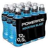 Powerade Sports Mountain Blast, Iso Drink mit Elektrolyten - als erfrischendes, kalorienarmes Sportgetränk oder als Power Drink für zwischendurch, EINWEG Flasche (12 x 500 ml)