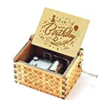 Evelure Caja de música de Madera de Feliz cumpleaños, música de Feliz cumpleaños, antigüedad, Tallada a Mano, Madera, decoración del hogar, Idea de Regalo para niños (D)