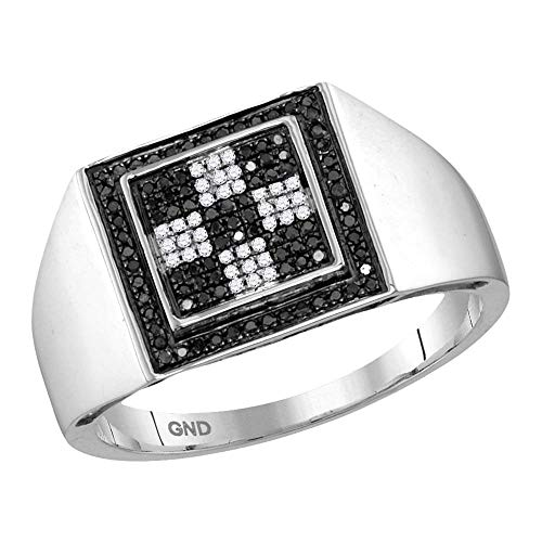 Saris and Things 10k oro blanco para hombre de ronda negro color realzado anillo diamond cluster a cuadros cuadrado de 1/4 cttw