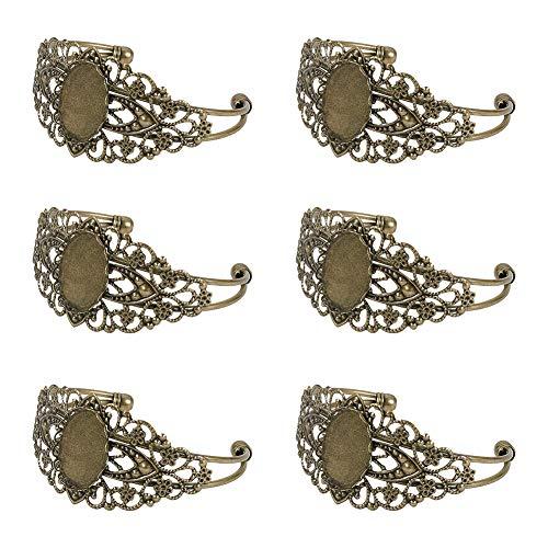PandaHall 5 juegos de pulseras de latón en blanco con cabujón redondo ovalado de 25 x 18 mm, bandeja de bisel para hacer joyas, brazaletes de bronce antiguo