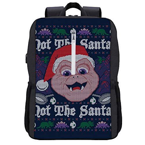 Dinosaurier Not The Santa Baby Sinclair Weihnachten Strickmuster Rucksack Tagesrucksack Büchertasche Laptop Schultasche mit USB-Ladeanschluss