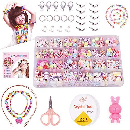Sunshine smile DIY Armband Bunte perlen Set ,DIY Perlenschmuck für Kinder,Perlen zum auffädeln,Ketten basteln,Kinder schmuck mädchen,Perlen Basteln,24 Farben (1)
